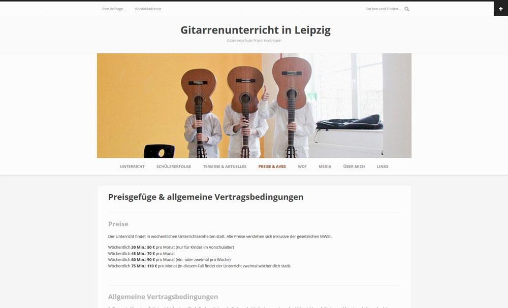 Website | Gitarrenschule Franz Hartmann, Leipzig