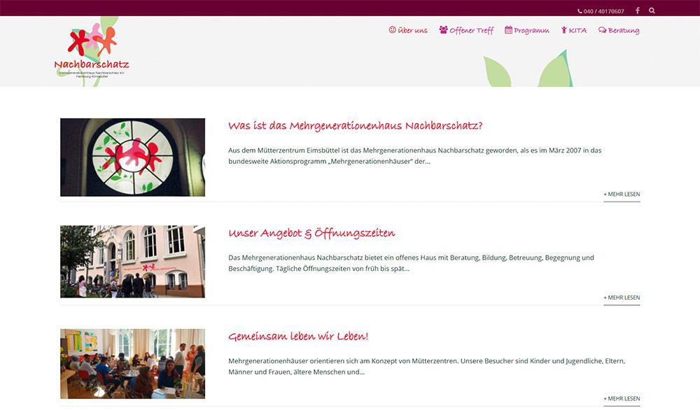 Website Mehrgenerationenhaus Nachbarschatz e.V. Hamburg